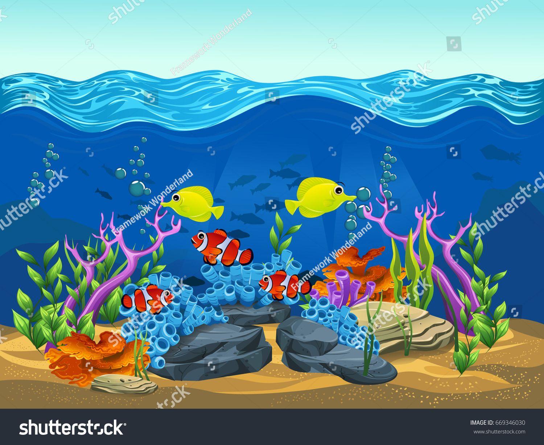 Beauty Landscape Sea Vector Illustration Of The Sea Cartoon Summer