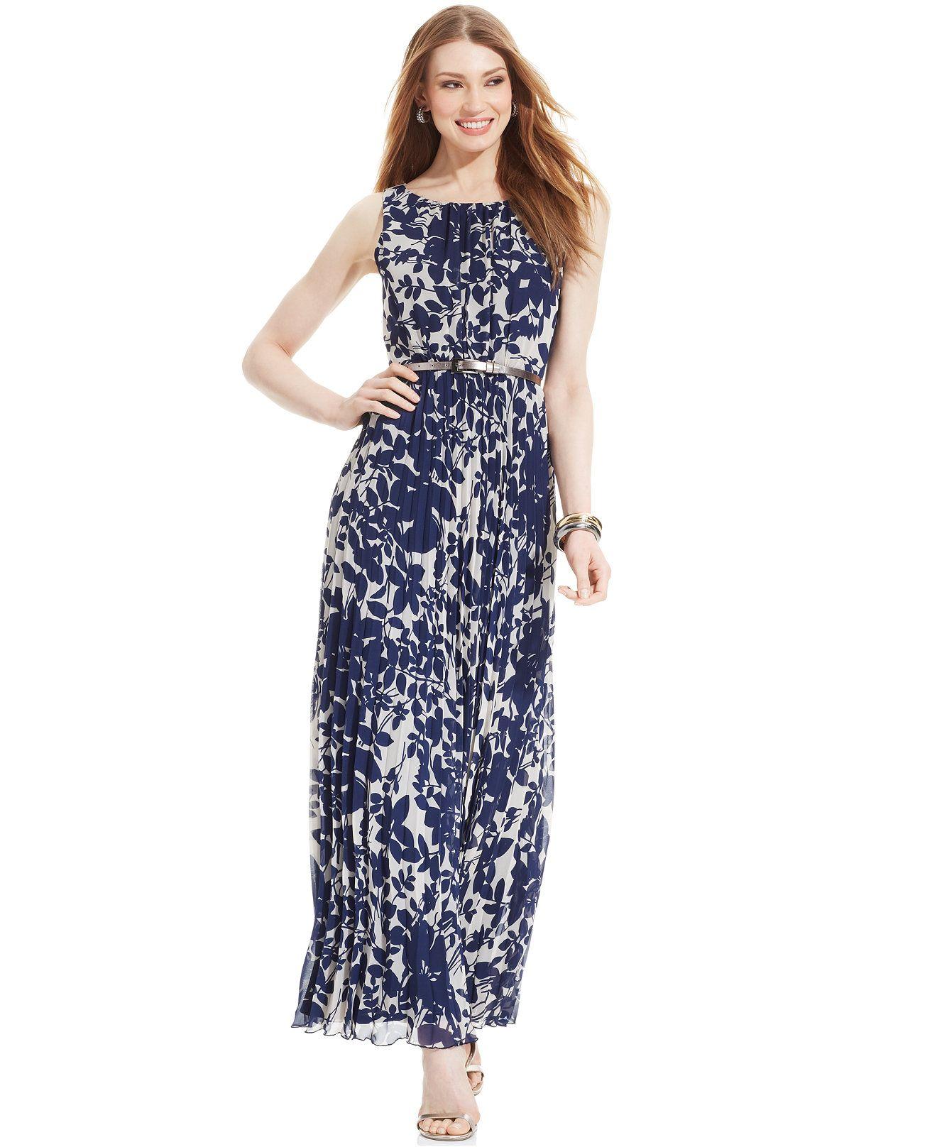 5b4b97ca357e Jessica Howard Petite Floral-Print Pleated Maxi Dress - Dresses - Women -  Macy's