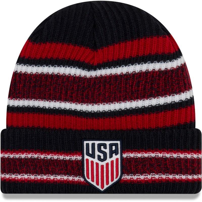 94ce3efcf3c US Soccer New Era Vintage Stripe Cuffed Knit Hat – Navy