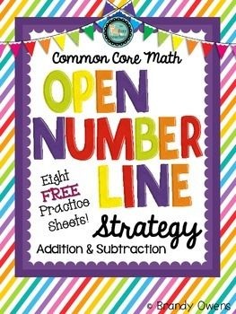 Open Number Line Strategy for adding 2 digit number + 1 digit number and 2 digit number + 2 digit number. Freebie.