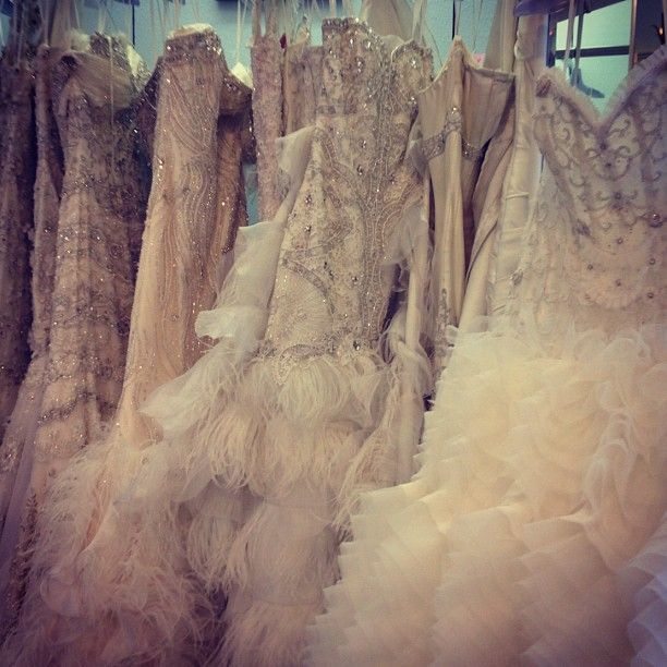 gorgeous weddings gowns with feathers and sparkle
