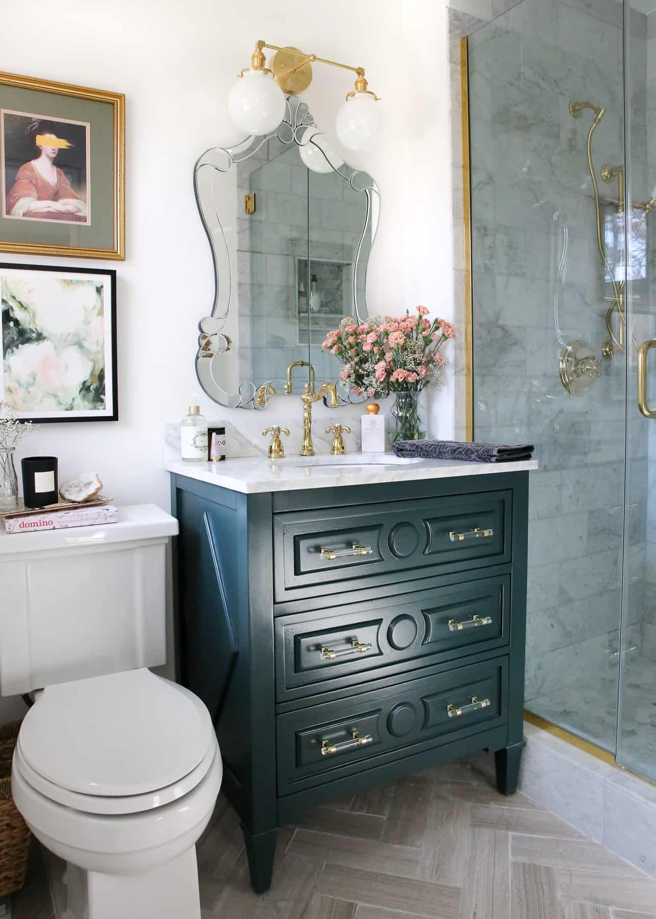 One Room Challenge The Reveal A Small Luxe Parisian Master Bathroom A Glass Of Bovino Master Bathroom Chic Master Bedroom Parisian Bathroom
