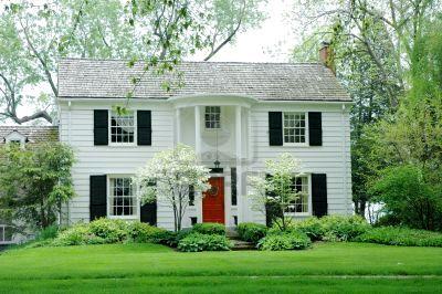 Red Door And Black Shutters White Housebye Pinkbeige House