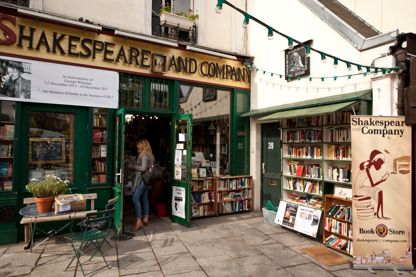 """Opened in 1951 by George Whitman, it was originally named """"Le Mistral"""" but renamed to """"Shakespeare and Company"""" in 1964 in tribute to Sylvia Beach's bookstore. Today, it serves both as a regular bookstore and as a reading library, specializing in English-language literature."""