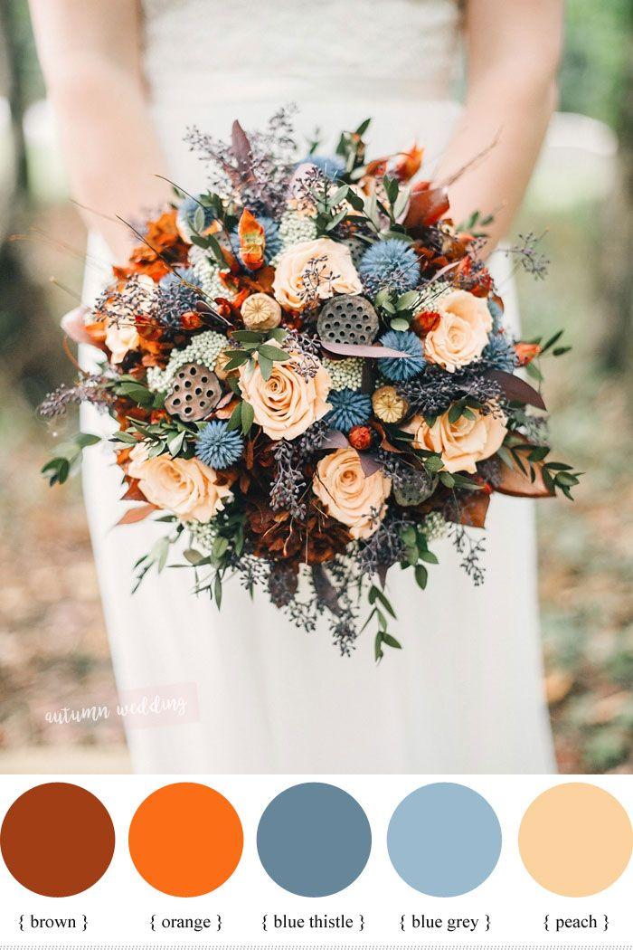 Peach Burnt Orange And Thistle Fall Wedding Bouquet Orange