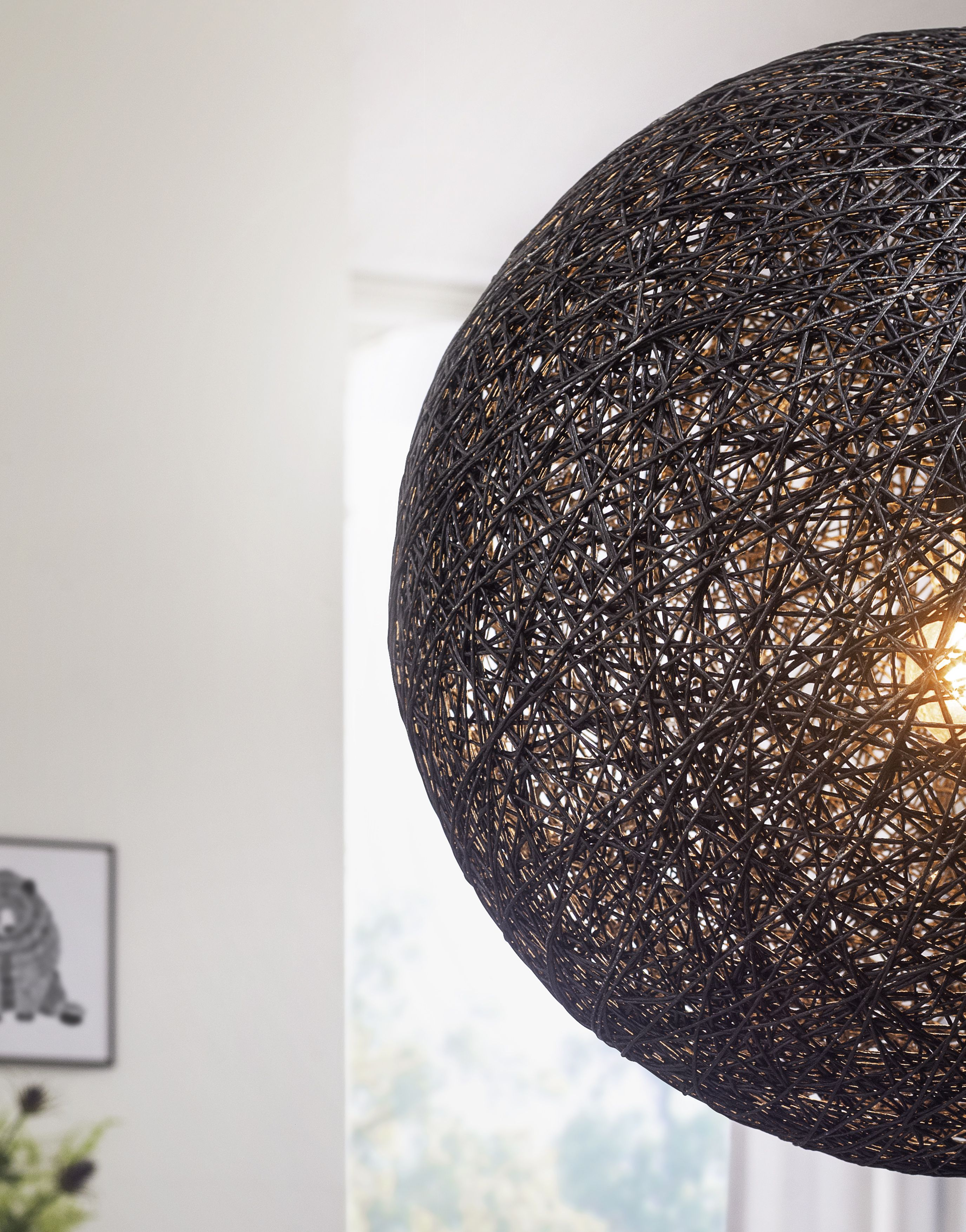 Wohnling Pendelleuchte Schwarz 40 Cm Wl3 062 Aus Rattan Licht