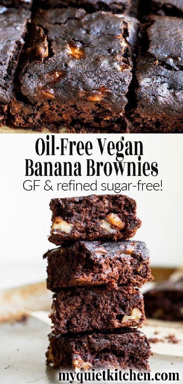 Vegan Banana Brownies, Oil-Free Vegan Banana Brownies, Oil-Free Vegan Banana Brownies,  3 Ingredi