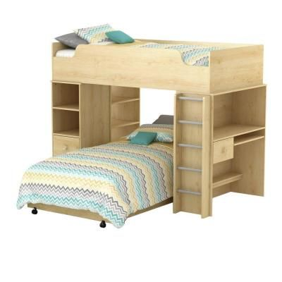 South Shore Furniture Logik Twin Loft Bed in Natural Maple (4-Piece)