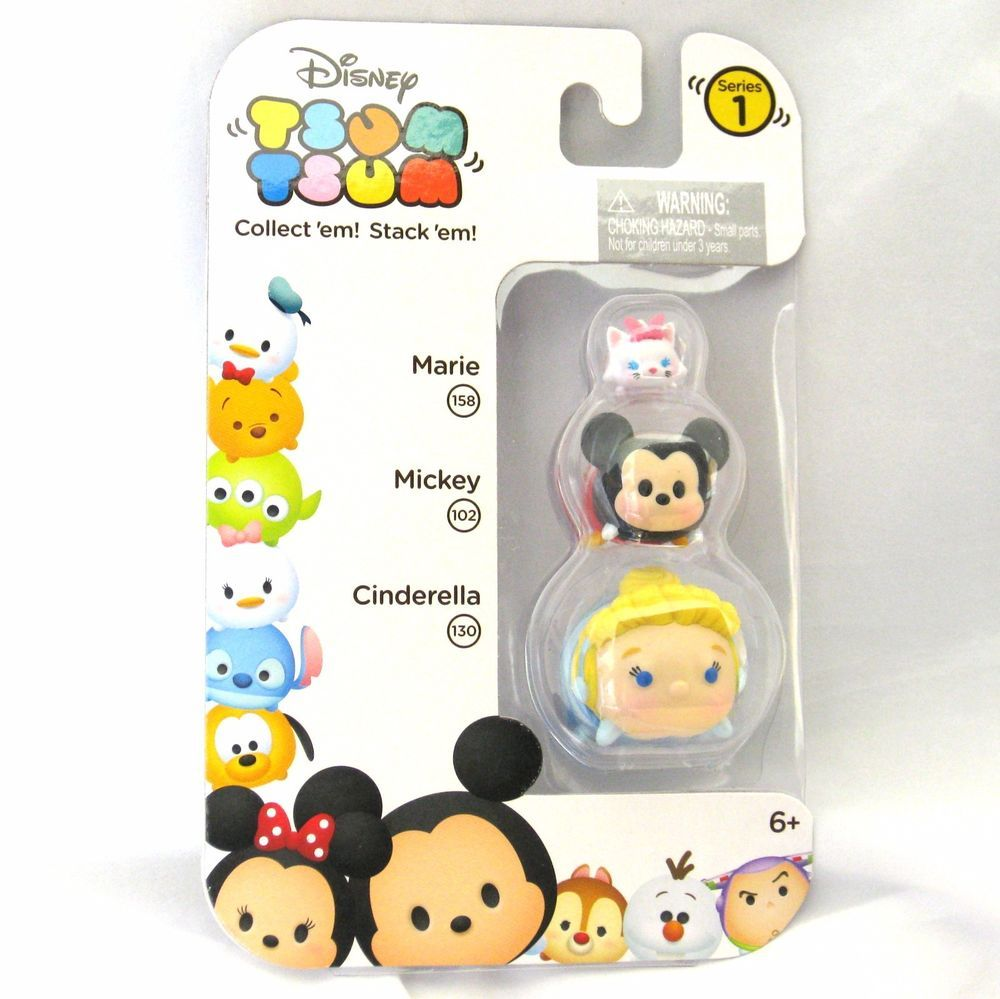 Choose From 4 Sets DISNEY Tsum Tsum Stackable Figures 5 Pack With Key Pod