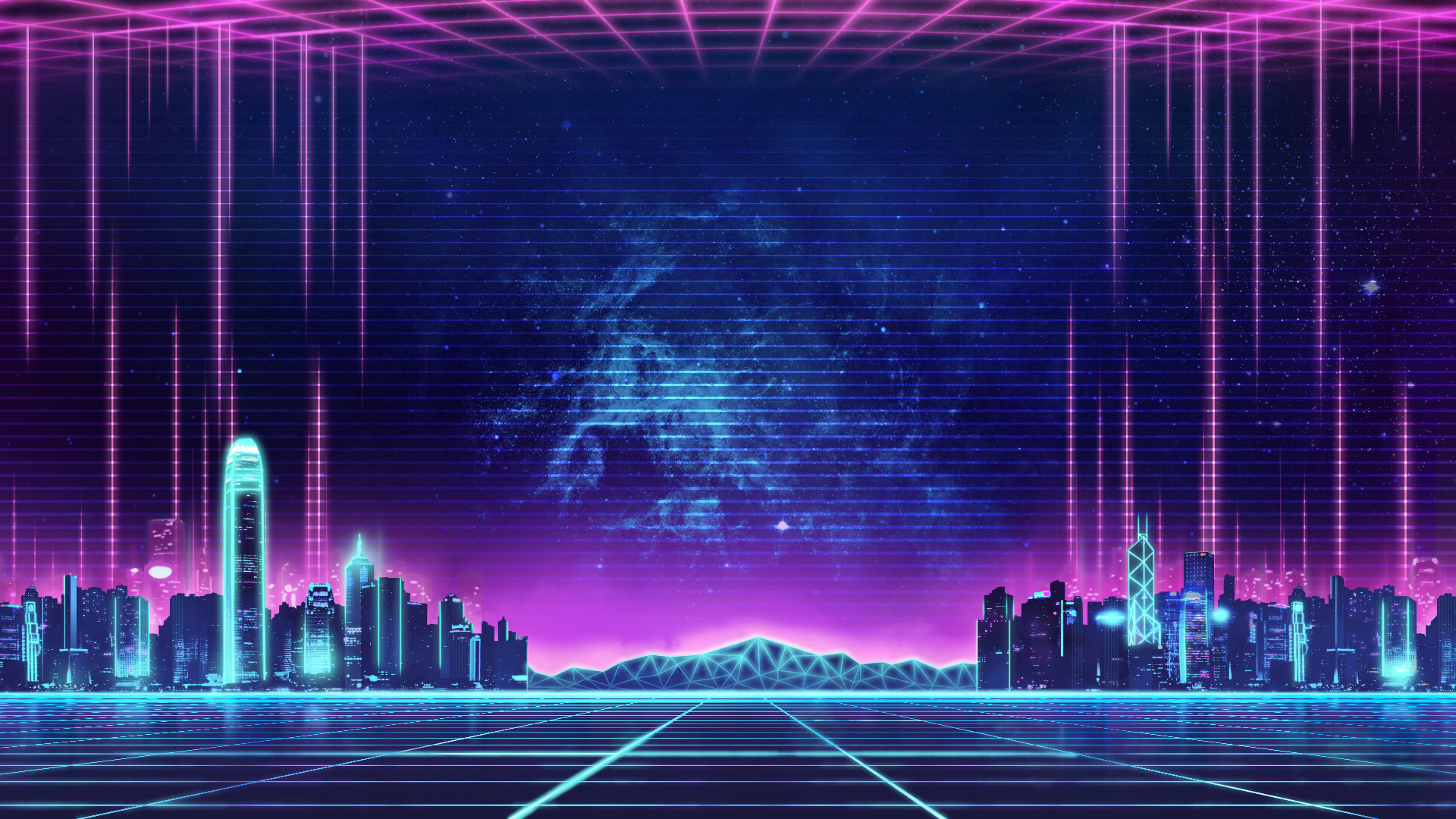 Classic Retrowave Skyline 1920 X 1080 Neon Wallpaper City Wallpaper Retro Waves