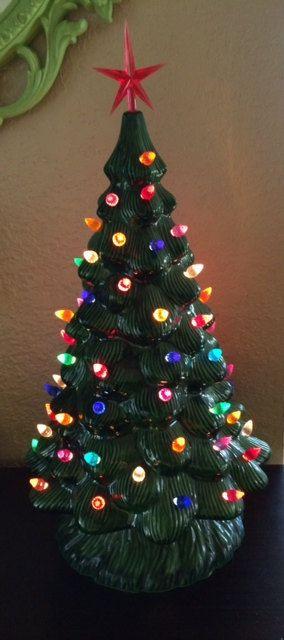 Vintage ceramic Christmas tree with red star Vintage ceramic