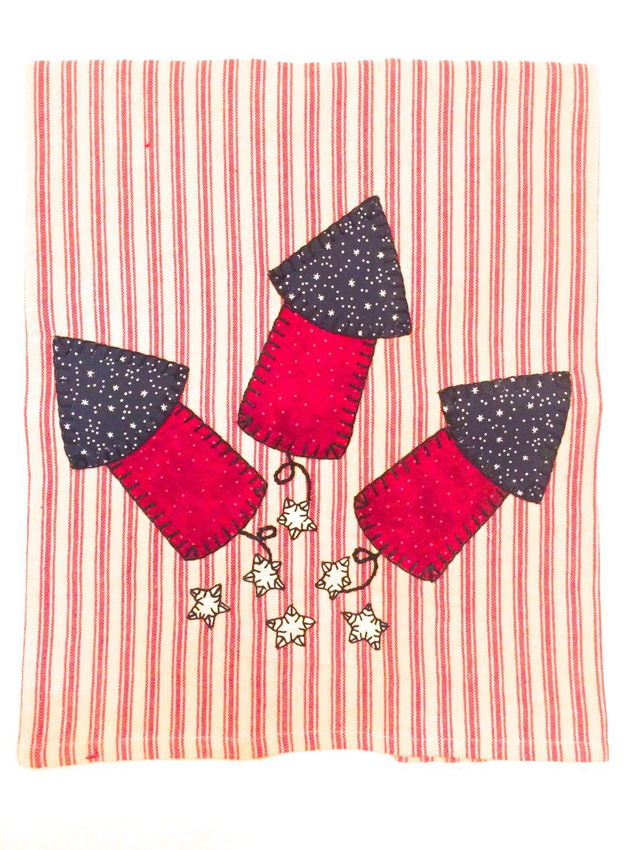 4th Of July Fireworks Applique Tea Towel Summer Applique