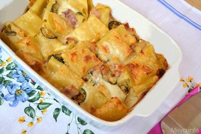 Paccheri Al Forno Con Zucchine E Pancetta Ricetta Ricette Ricette Pasta Al Forno Idee Alimentari