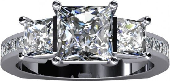 2.53Ct Princess Cut Engagement Ring Available In 14K, 18K and Platinum