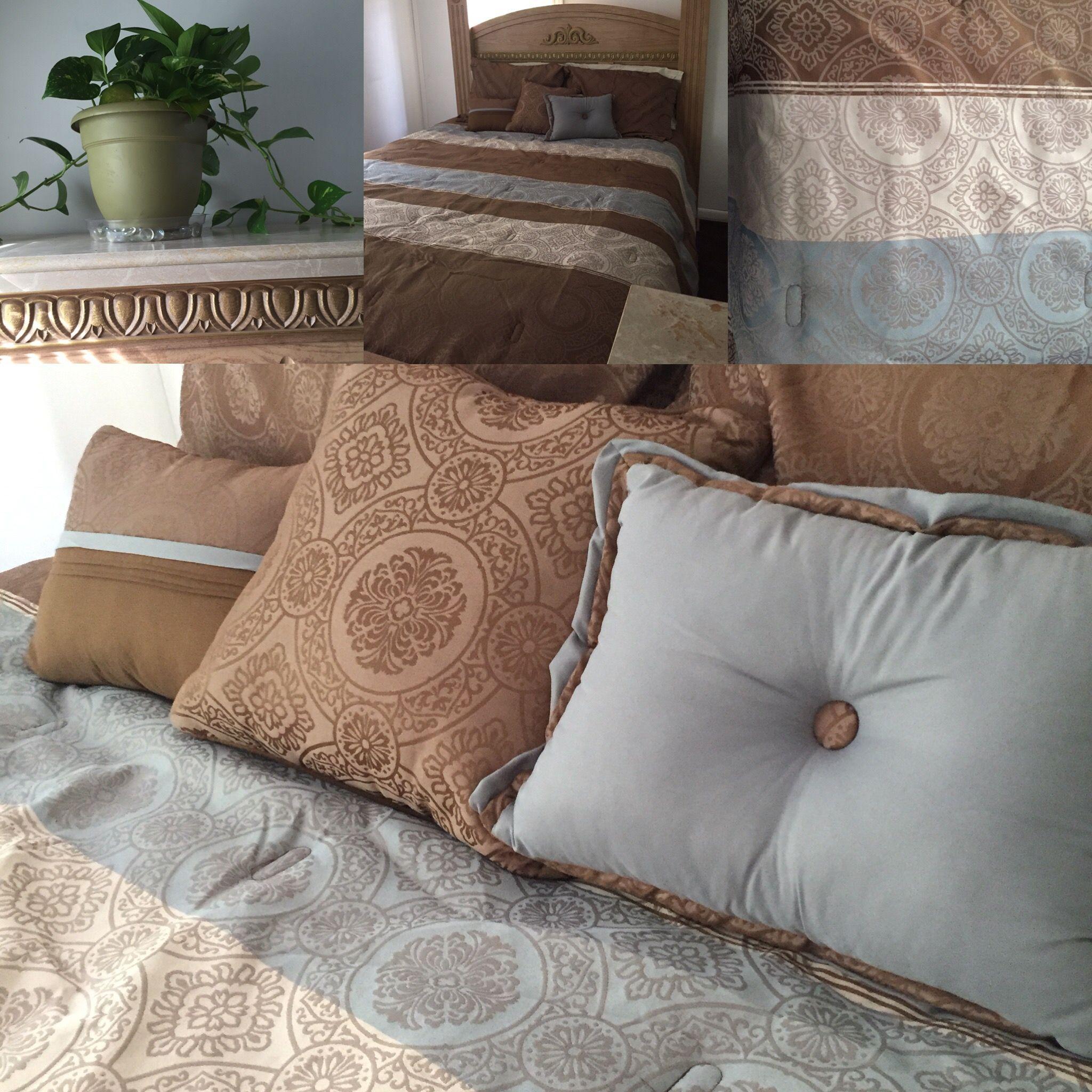 Brown and gray blue bedroom color scheme Bedroom color