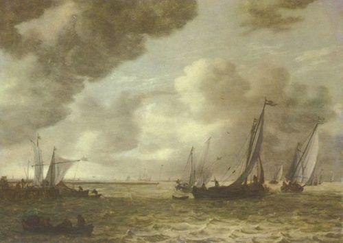 Landschaftsmalerei barock  Jan van Goyen. Flußansicht. 1655, Holz, 41,4 × 55,8 cm. Den Haag ...