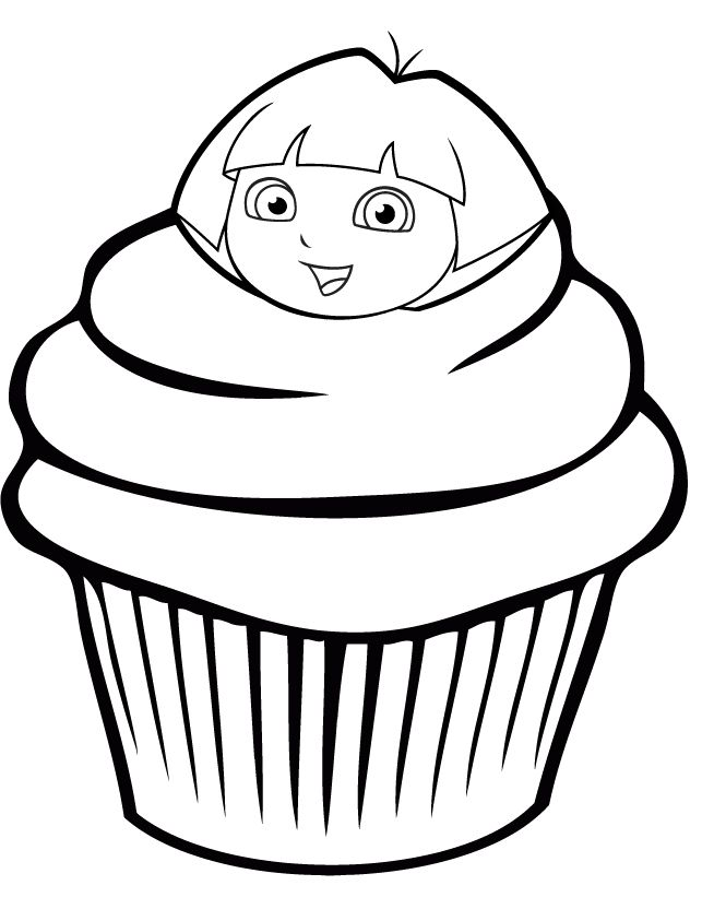 The Cupcake Is Garnished With A Head In The Dora Coloring Pages Hello Kitty Coloring Cupcake Coloring Pages Kitty Coloring
