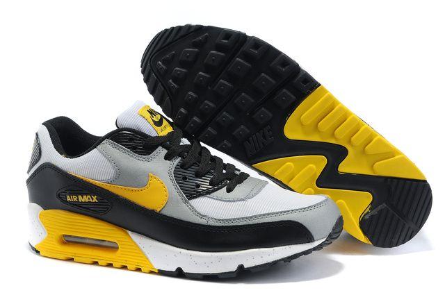 Nike Air Max 90 Chaussures Hommes Mode Noir Blanc Jaune