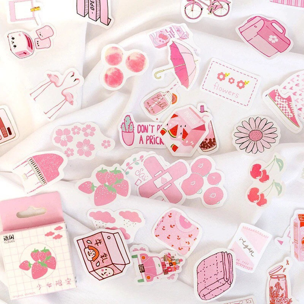 50 pcs Pink Aesthetic Stickers Tumblr Sticker Pack ...
