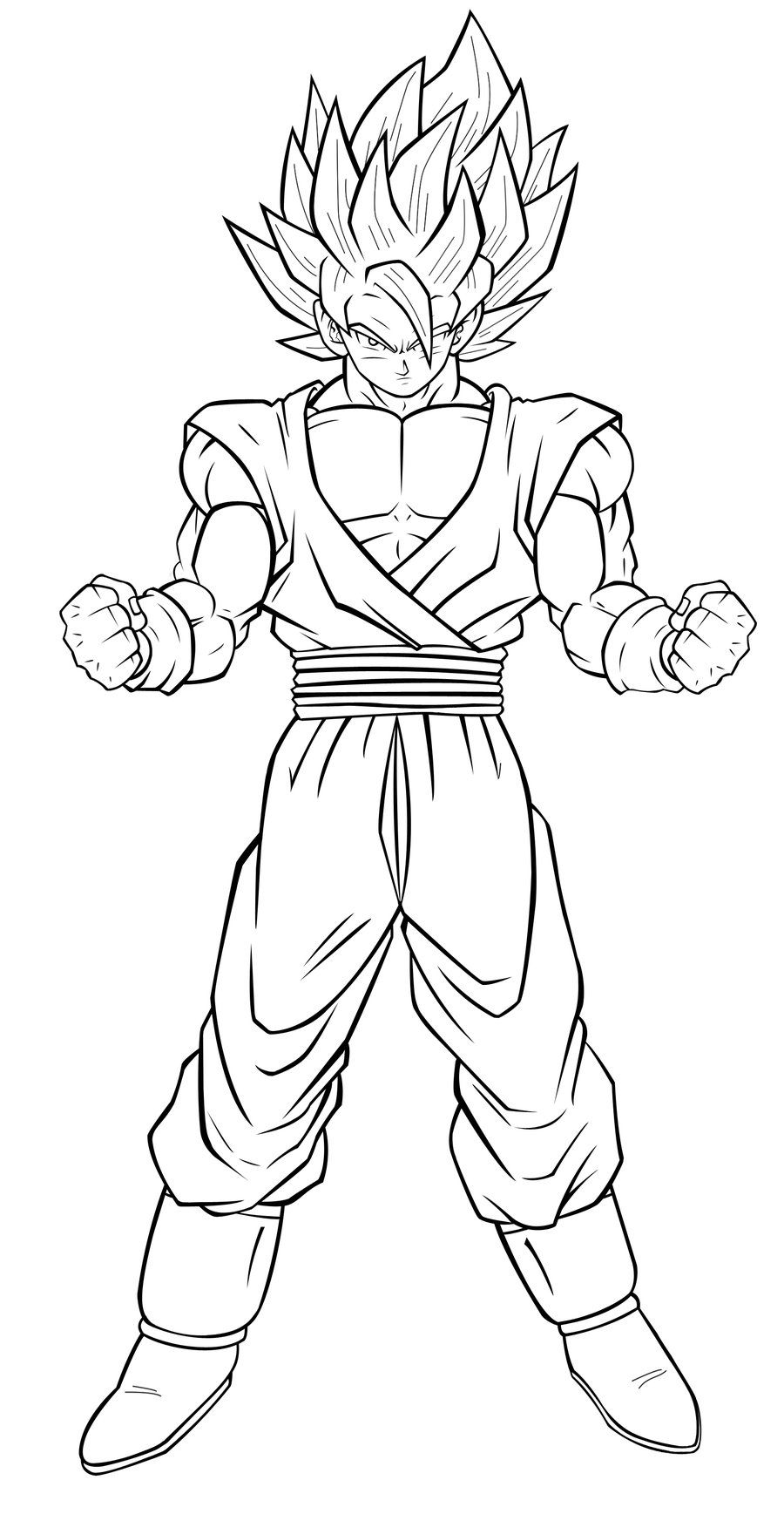 Coloriage dragon ball z sangoku super sayen 3 dragon ball z coloriage dragon ball coloriage - Dessin dragon ball z facile ...
