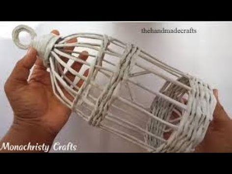 How to make Newspaper Bird Cage Handmade craft .....!!!!!!!!