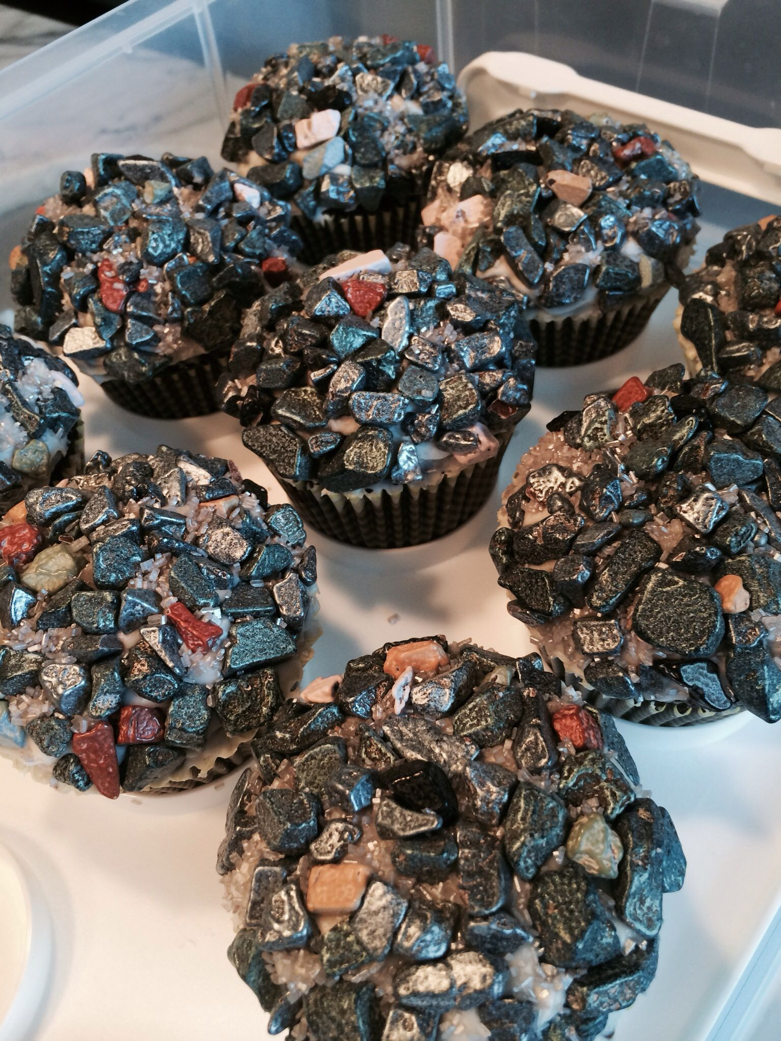 chocolate rock cupcakes! | to party :: p's rock (climbing) party ...