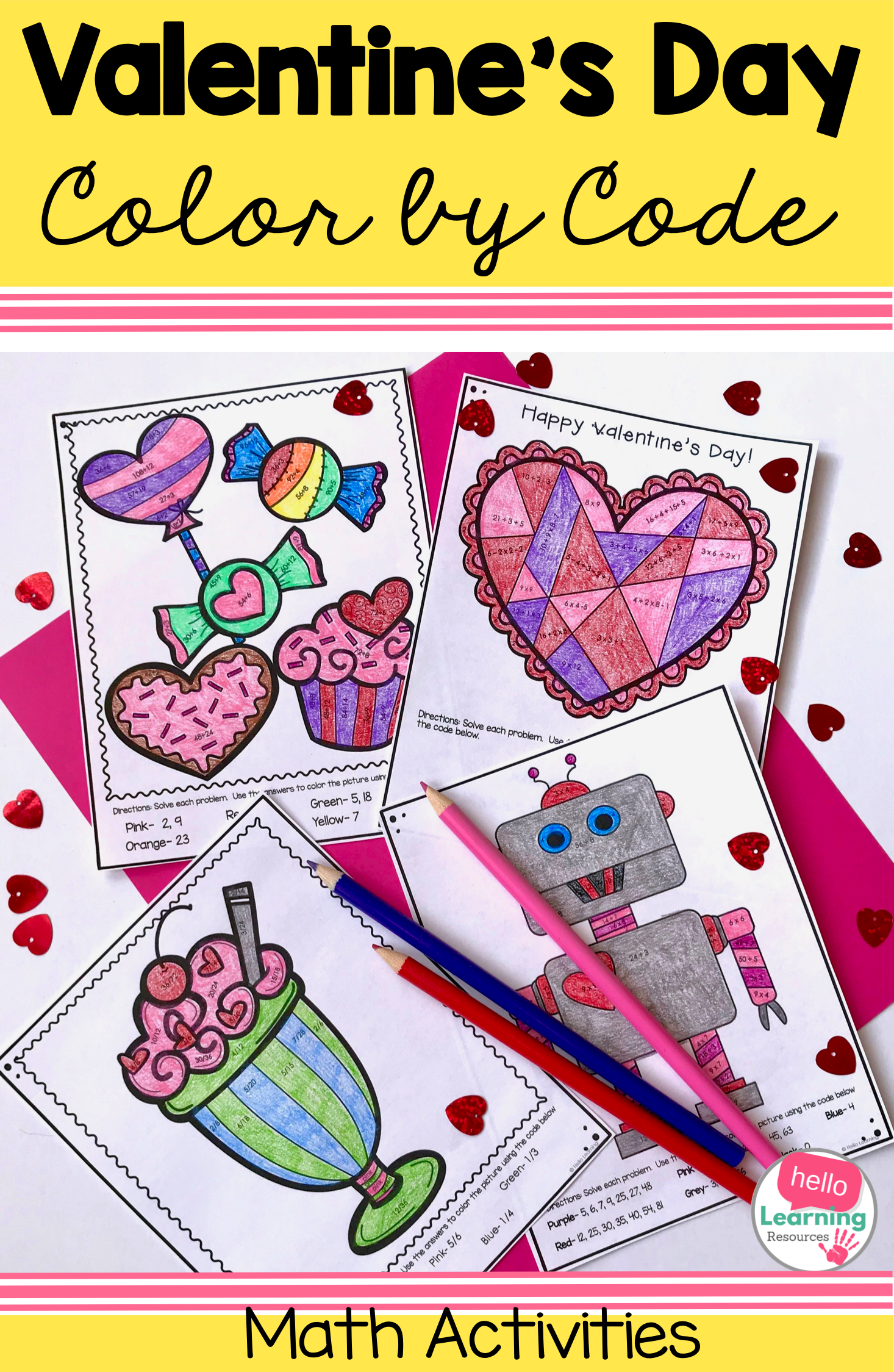 Valentine S Day Color By Code Math