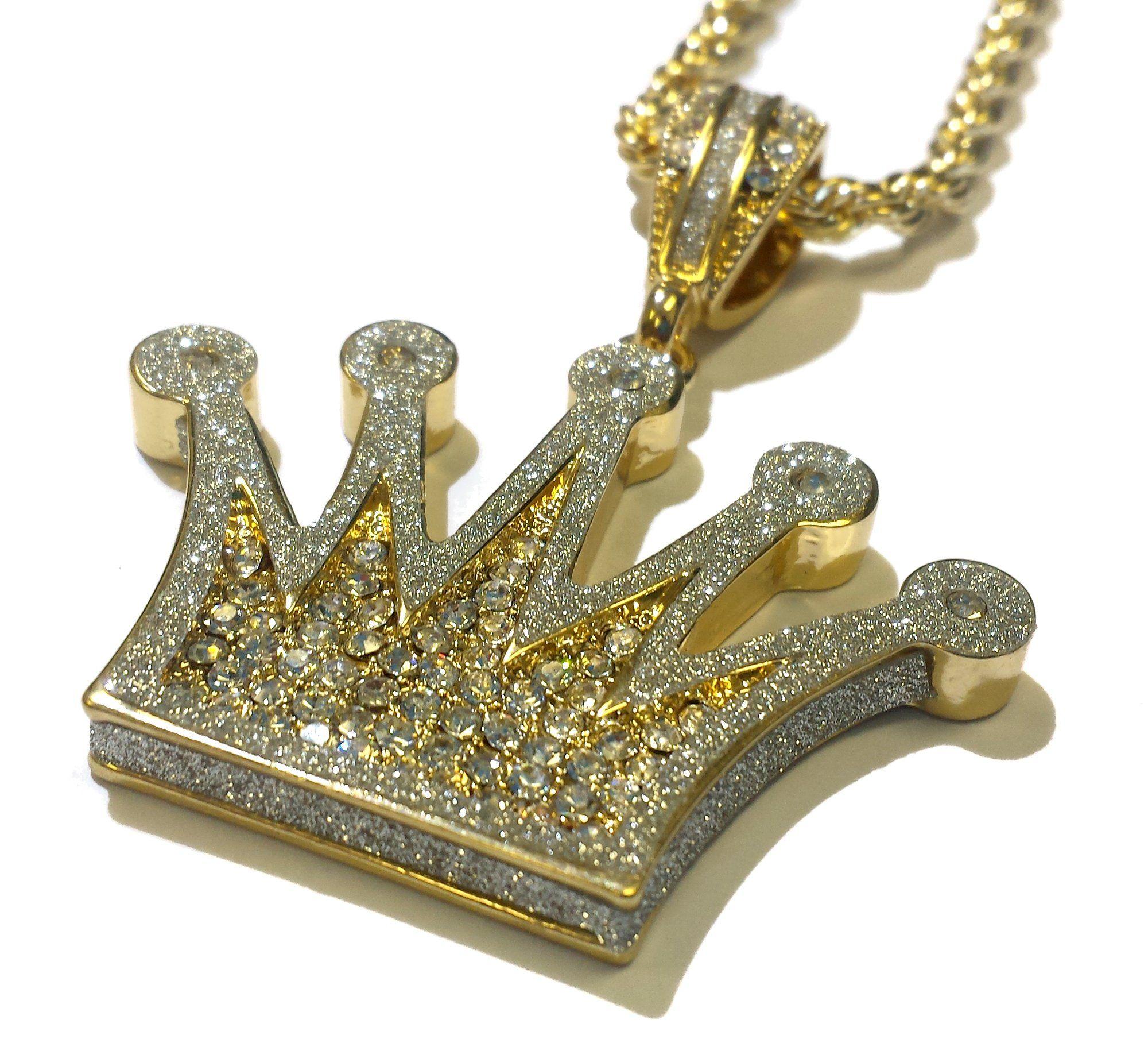 d817684c5ce Amazon.com: 18k Gold Plated Iced Out Crown Design 3D Pendant Hip Hop ...