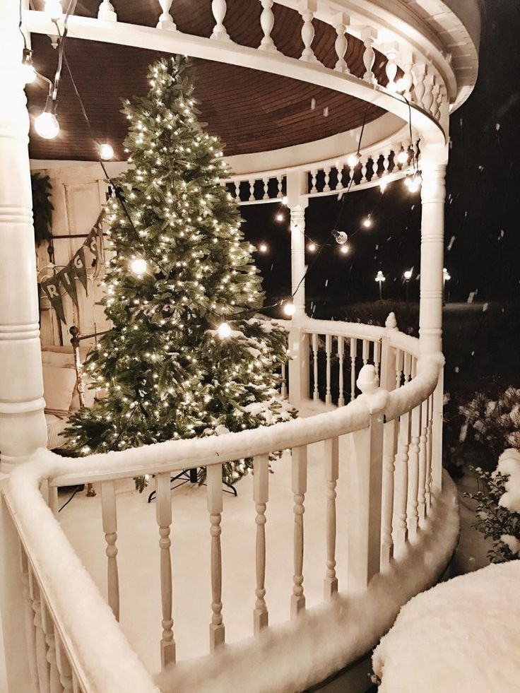 Christmas night, White cottage, Farmhouse christmas, Christmas, Christmas porch, Christmas lights - My favorite time of year to decorate our home is Christmas   that is kind of a dumb thing to say on  -  #Christmasnight