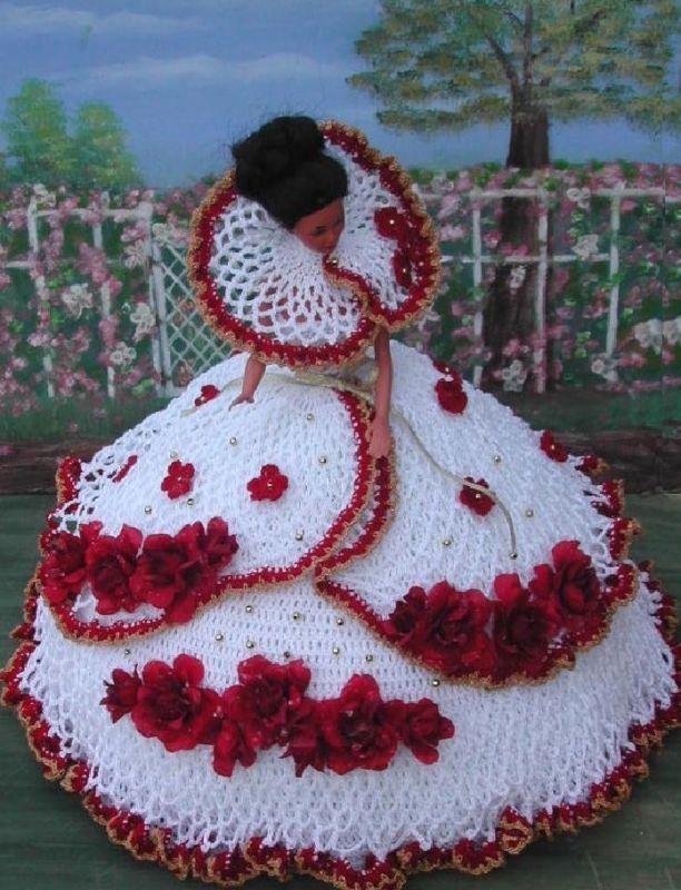 Crochet fashion doll pattern-ics designs-30 red roses | Barbie ...