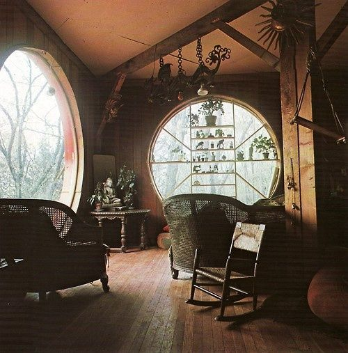 Cozy room with beautiful large round windows