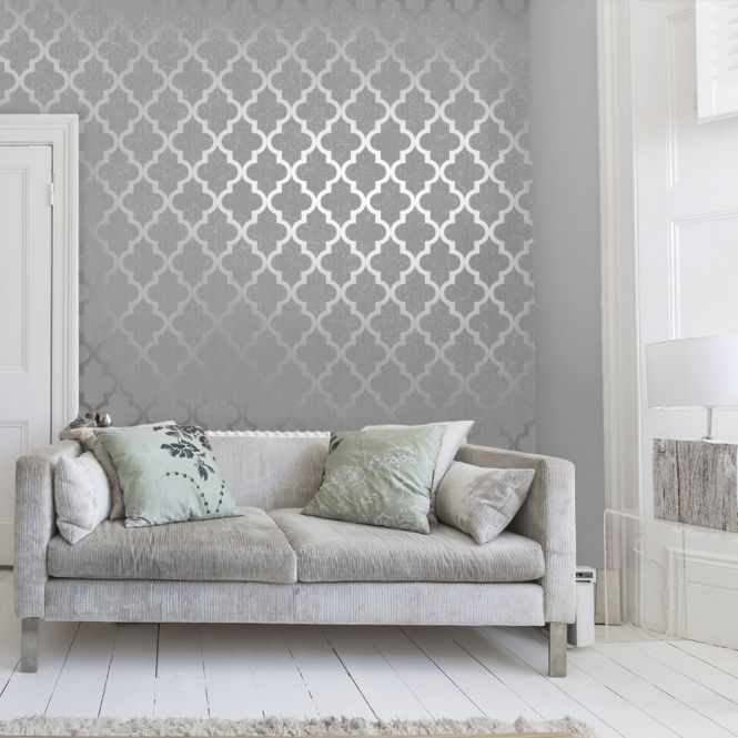 Camden Trellis Wallpaper Soft Grey Silver Silver Living