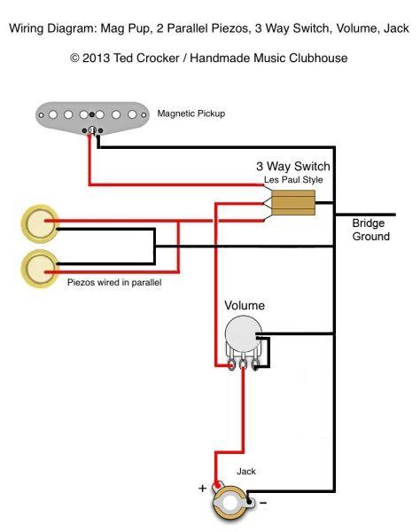 Electric Guitar Pickup Wiring Diagram Pajero Io Ted Crocker 1 Single Coil 2 Piezo Vol 3 Way Switch