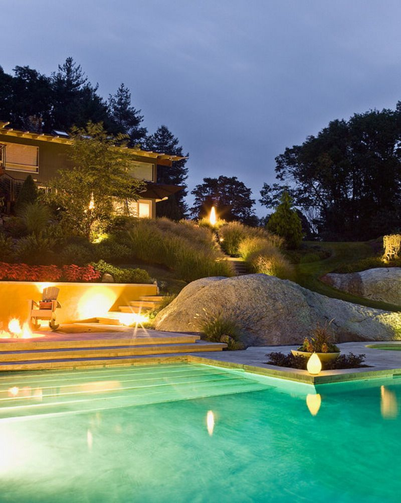 30 beautiful swimming pool lighting ideas outdoor spaces for Above ground pool lighting ideas