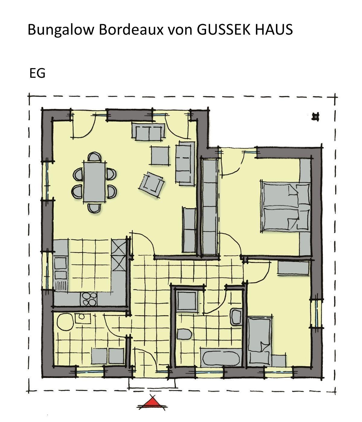 Bungalow Grundriss ebenerdig mit Walmdach Architektur 3