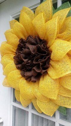 Sunflower Wreath, Yellow Burlap Sunflower, Front D