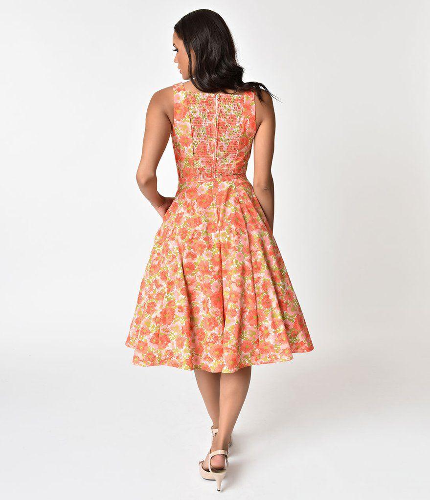 Unique Vintage 1960s Style Coral Orange Floral Harriet Swing Dress Vintage Dresses 1960s 1960s Fashion Vintage Dresses [ 1023 x 879 Pixel ]