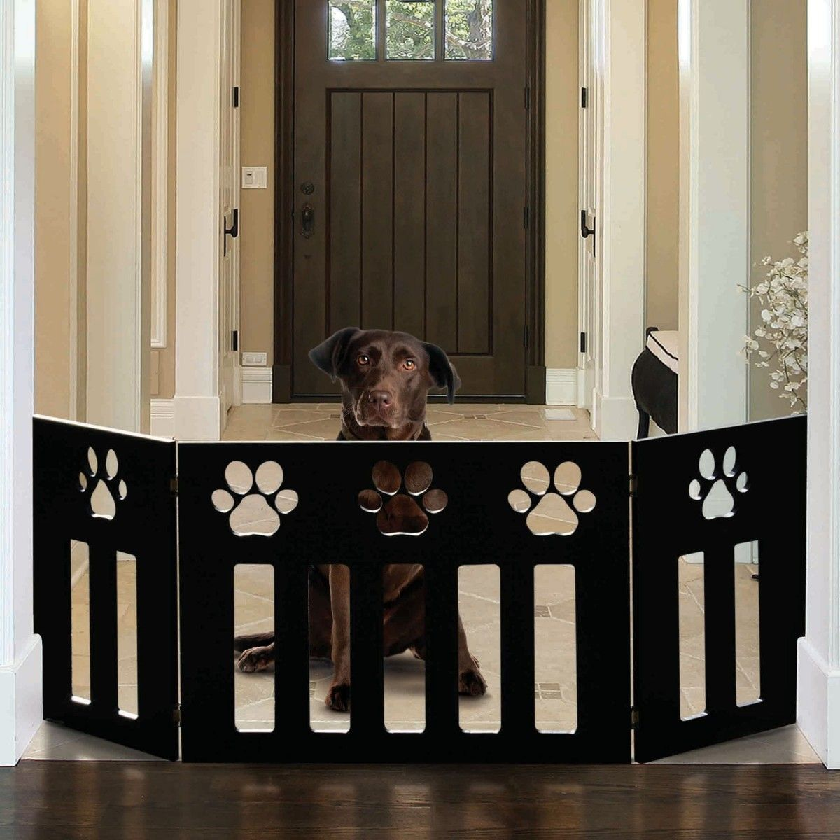 Etna pet dog gate free standing 48 in wide 19 in tall