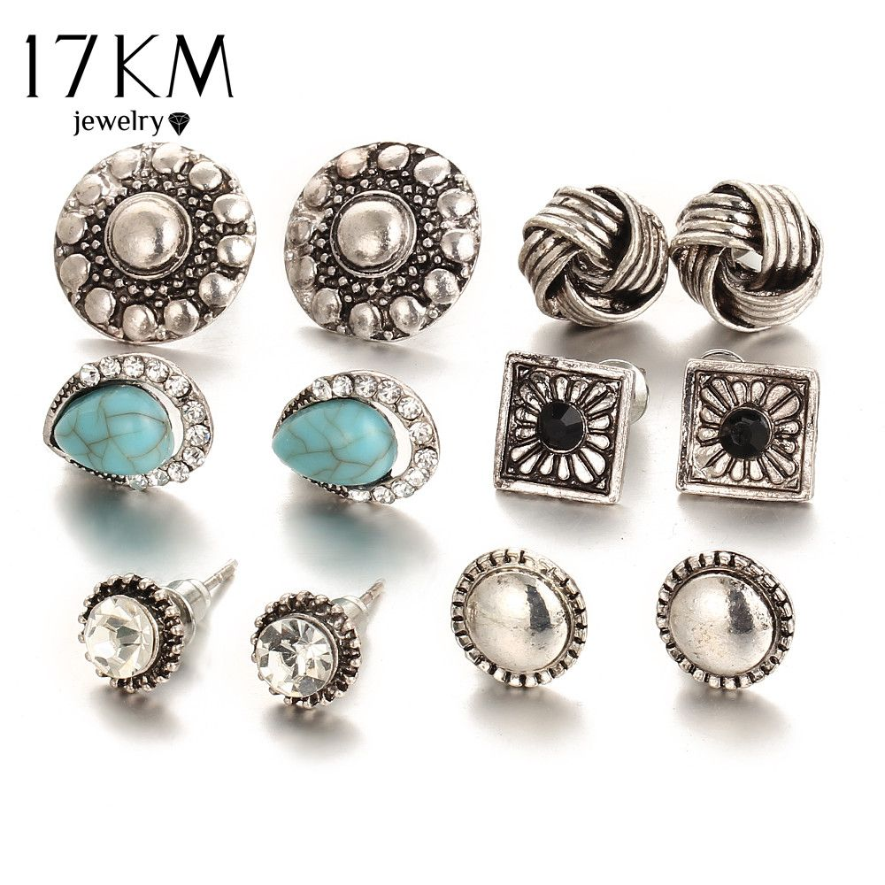 17 كيلومتر 6 زوج مجموعة خمر كريستال أقراط القلب للنساء حبات الحجر آذان ثقب الأذن الكفة كليب Stea Womens Earrings Studs Crystal Heart Earrings Stud Earrings Set
