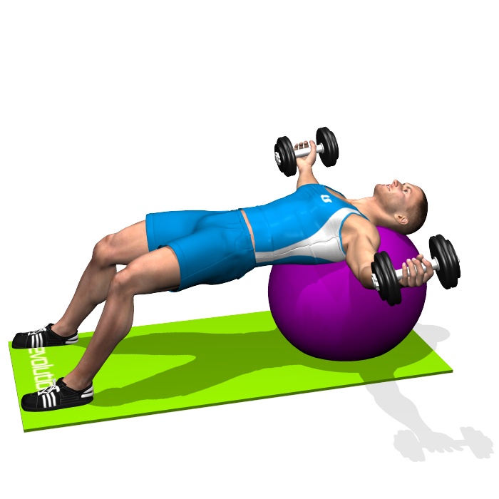 Stability Ball Instead Of Bench: The Dumbbell Flyes Exercise, Performed Both On A Flat