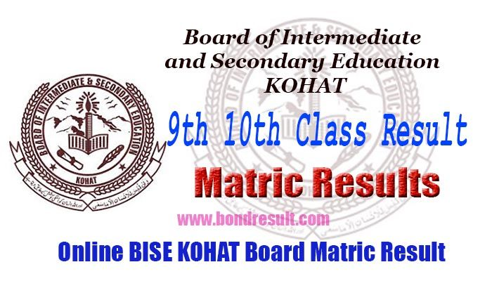 BISE Kohat Board 9th & 10th Class Annual Result 2017 | Results