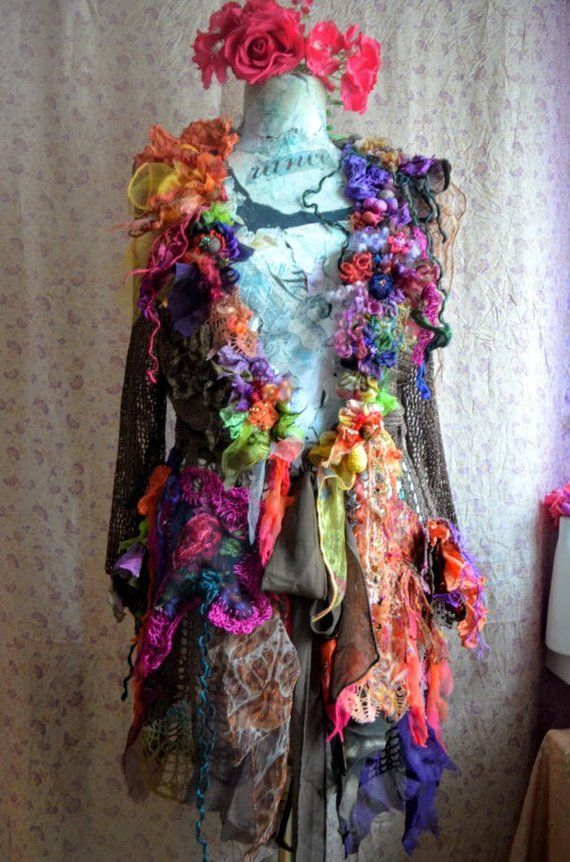 Altered couture Wearable art jacket Embellished bohemian jacket art to wear fairy gypsy mori girl tattered burning man #wearableart