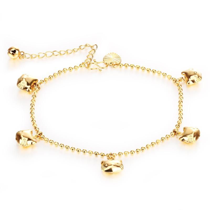 Cute Hello Kitty Bell Anklet Yellow Kitty Cat Pendant Foot Anklet ...