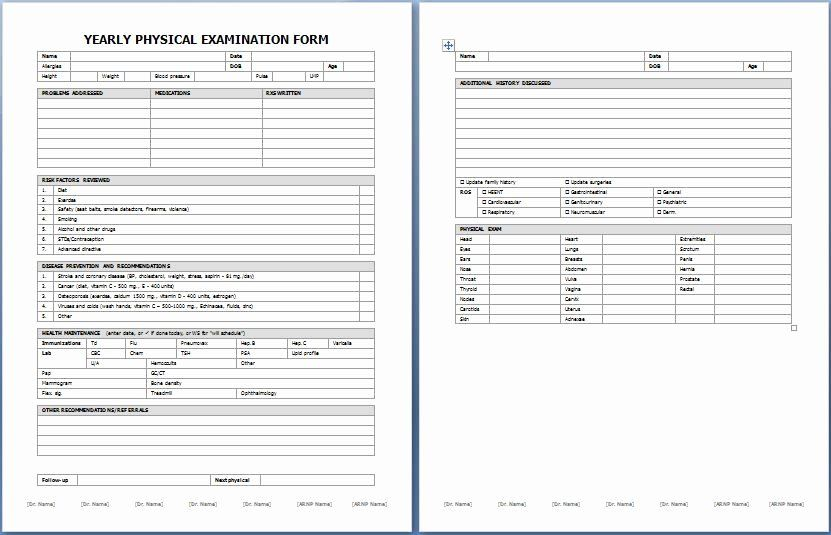 Physical Examination Form Template In 2020 With Images Physics