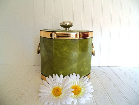 Retro Octagonal Avocado & Gold Trim Vinyl Ice Bucket - Vintage KraftWare Patent Leather 8 Sided Design - Cocktail Generation Entertaining $23.00