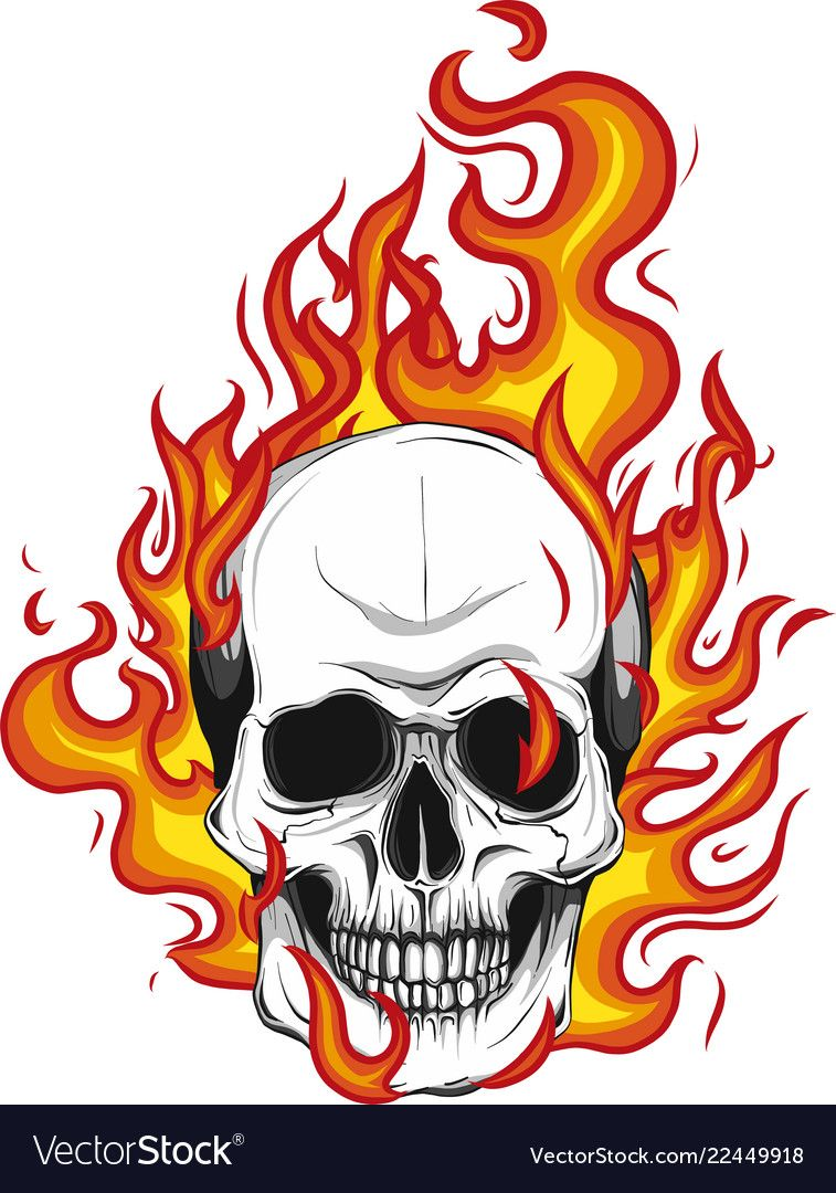 Skull On Fire With Flames Vector Image On Vectorstock In 2020 Skulls Drawing Drawing Flames Fire Drawing