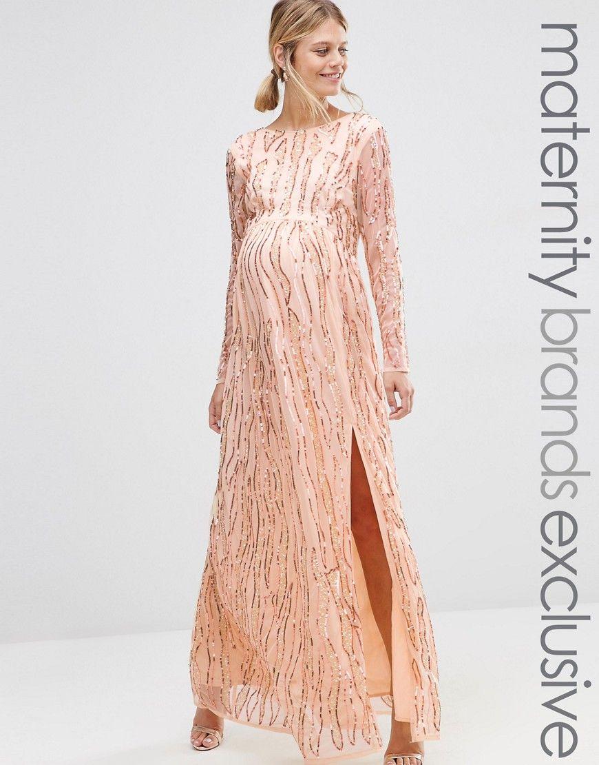 Maya Maternity Long Sheer Sleeve Embellished Maxi Dress | Nice ...