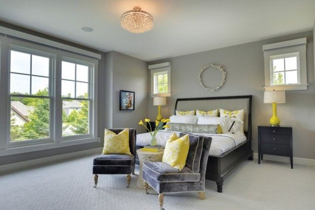 Model Home Mondays Yellow Bedroom Decor Grey Bedroom With Pop Of Color Grey Bedroom Decor