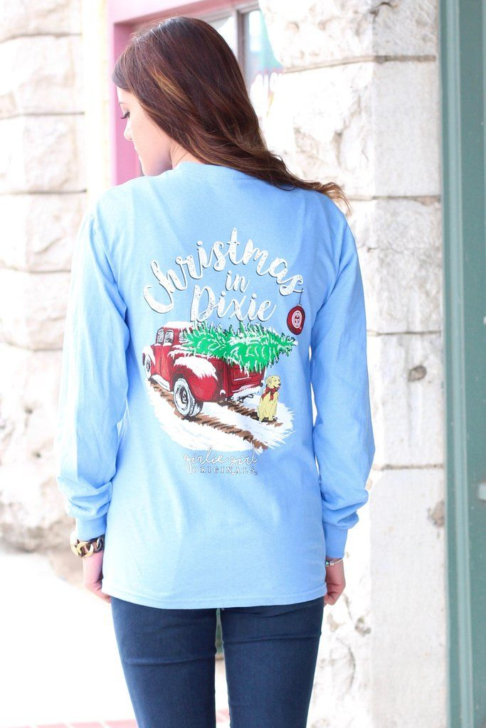Christmas In Dixie Shirt.Long Sleeve T Shirt With Christmas In Dixie Graphic On It