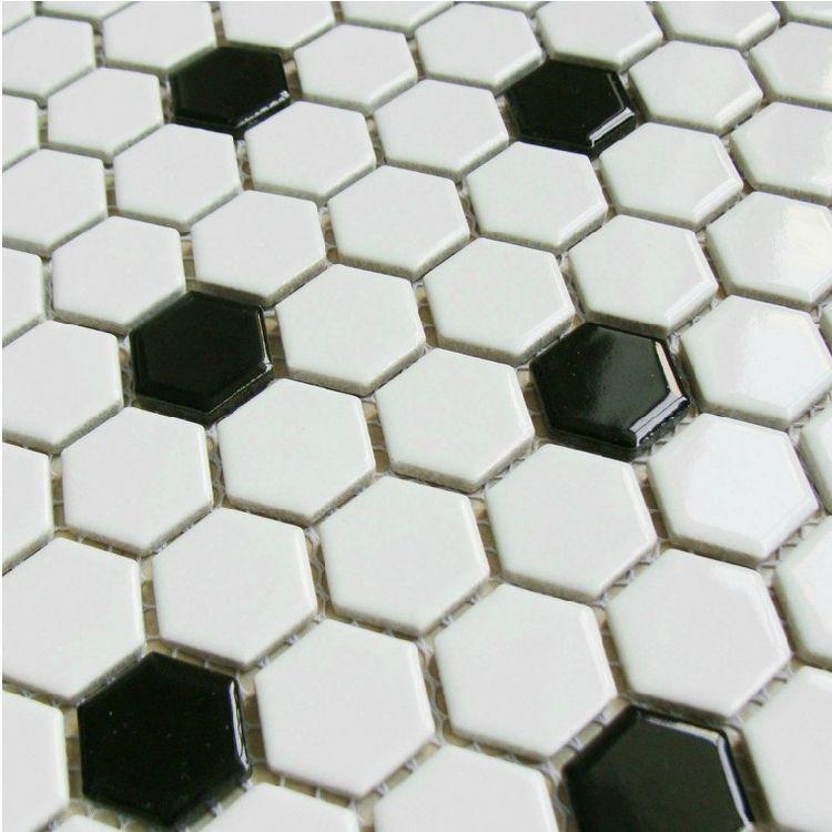 Blue and White Hexagon Tile | classic black mixed white hexagon ...